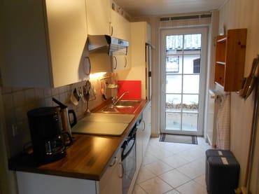 Küchenzeile  mit Elektroherd und Geschirrspieler,mit Tür zur Terrasse