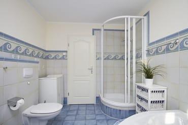 Zusätzlich zur Badewanne gibt es auch eine Dusche. Die Nutzung der Waschmaschien ist inclusive.