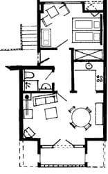 Grundriss der Wohnung im Dachgeschoss, 44 qm², Duschbad, offene Küche, Balkon