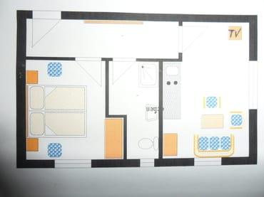 Grundriss der 2-Zimmer-Ferienwohnung