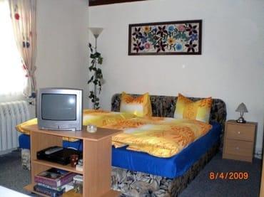 Ferienhaus - Wohnzimmer mit zwei Betten
