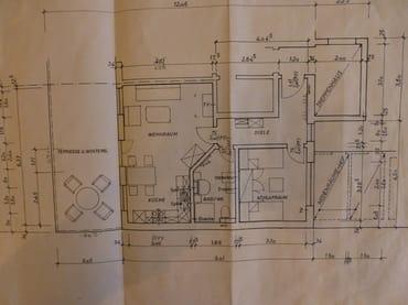Grundriss der Wohnung und Terrasse