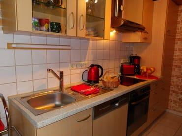 Küche mit Geschirrspüler,Kühlschrank und Backofen mit Cerankochfeld