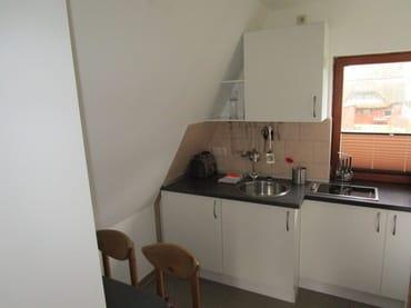 kleine gemütliche Küche mit Kühlschrank, Herd und Mikrowelle
