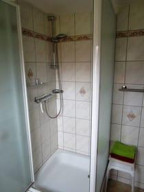 geräumige Dusche mit großer Brause