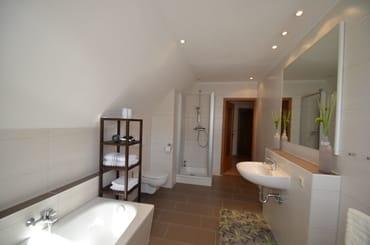 Badezimmer mit  Dusche und Badewanne , Wäscheständer für den Balkon für Ihre Strandsachen, Föhn vorhanden- 2017 kommplet  Neu