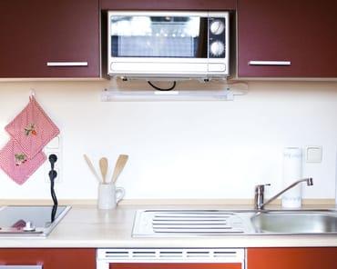 Cerankochfeld, Mikrowelle, Spüle, Kühlschrank