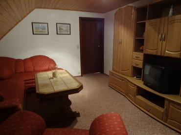 Wohnzimmer mit ausziehbarer Schlafcouch, Sat-TV, WLAN