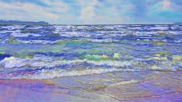 Ostsee vor Glowe mit Blick auf Kap Arkona (vom Vermieter gemalt)