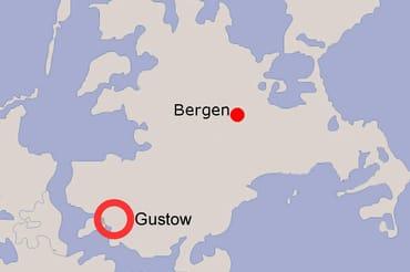 Lage von Gustow auf der Insel Rügen