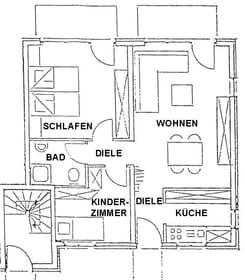 Grundriss der Ferienwohnungen Typ 5 mit Terrasse