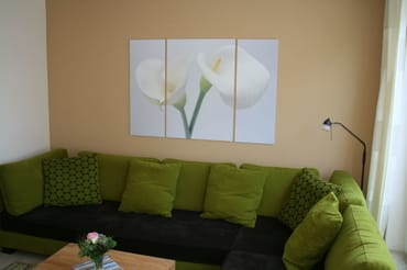 Blick ins Wohnzimmer mit super bequemer Couch