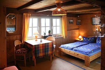 Blick vom Eingang in den Wohnschlafraum