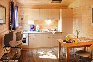 Wohnraum mit Küchenzeile (Spüle, 4-Platten-Herd, Backofen und Kühlschrank)