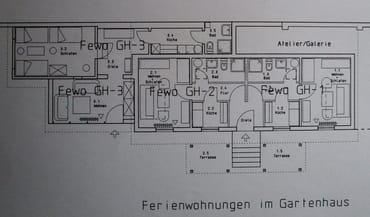 Grundriss Gartenhaus, Fewo GH-2 Mitte