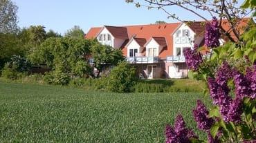 Terrassenseite (von Süden) - Blick in den Obstgarten und die Felder