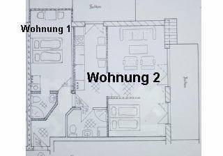 Grundriss der Wohnungen 1 + 2