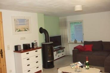 Wohnzimmer mit Kamin und  Schlafcouch