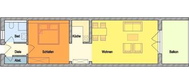 GRUNDRISS: Großzügig, offen geschnittene Wohnung, großer Balkon
