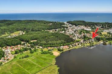 Luftbild und Lage der Fewo am Selliner See
