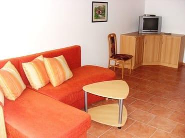 Wohnbereich mit Schlafsofa (neues Sofa und Flat-TV, leider noch keine Fotos)