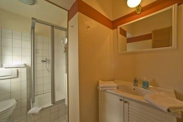 Bad mit Dusche, WC, Fön, Kosmetikspiegel, Fenster