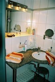 Bad mit Dusche, WC, Waschtisch, Schminkspiegel und Fön