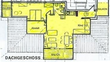 Der Grundriss. Der markante Dachaufbau mit den Schrägen und Gauben ist in der Zeichnung nur zu erahnen.