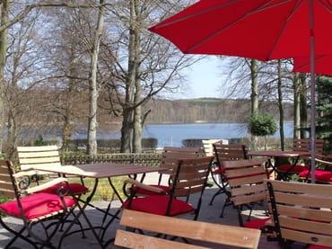Blick vom Cafe auf den Wolgastsee