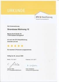 DTV-Urkunde über 5 Sterne