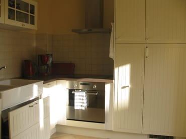 Küche mit Kühlschrank, Geschirrspüler und Herd