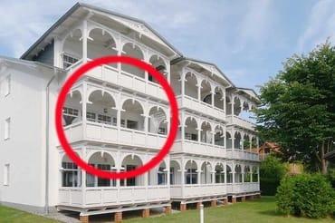 Lage der Ferienwohnung 15 in der Strandresidenz Juliusruh, Haus II