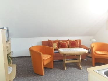 Wohnzimmer mit Liegesofa (eventuelle Aufbettung für 2 Personen)