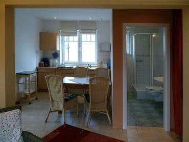 Blick ins Duschbad / Küche mit Geschirrspüler