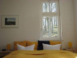 Das Ein-Zimmer-Appartement  D 303 Typ 303 zeigt aber auch zum Buchenwald hinter dem Haus.  Die Küche ist vom Hauptraum abgetrennt.