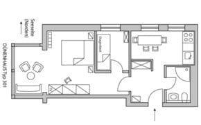 Die Ferienwohnung vom Typ 301 ist mit ihren zwei Zimmern und der sparaten Küche ideal für Familien. Das Appartement D 301 liegt in der 3. Etage.