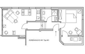 Großzügig: Die Wohnung D401 hat einen Flur mit geteiltem Niveau. An den Enden liegen der Wohnraum und das Schlafzimmer, in der Mitte das Bad mit eigener Waschmaschine.