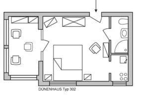 Der Wintergarten ist ein abgetrenntes halbes Zimmer mit Essplatz. Die Kochnische mit Herd und Backofen ist ebenfalls separat.