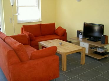 Wohnbereich mit Kaminofen, SAT-TV, DVD- und CD-Player