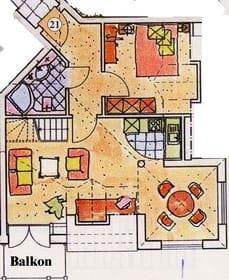 Grundriss ohne Galerie mit 2. Schlafzimmer