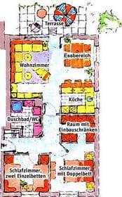 Grundriss der Wohnung mit Terrasse