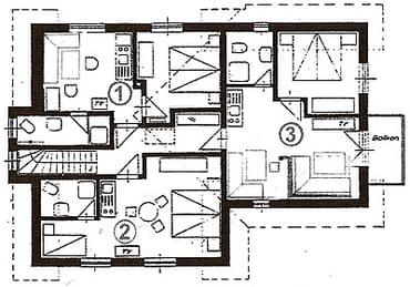 Grundriss der Wohnungen im OG