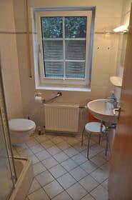 Blick ins Badezimmer mit Dusche, WC und Waschbecken
