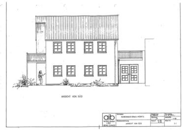 Zeichnung der Ansicht Südseite des Ferienhauses