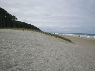 Breiter Sandstrand, nur 700 m von der Wohnung