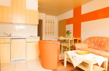 Wohnraum mit Essbereich und Küchenblock