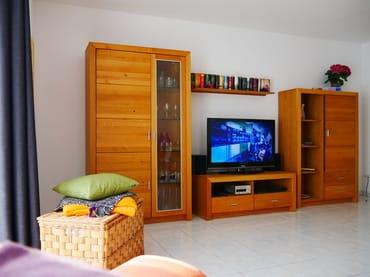 Gegenüberliegende Seite mit TV, DVD, Radio und CD-Player / USB- Anschluss und einer kleinen Auswahl an Büchern.