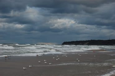 Bei Sturm am Strand von Baabe
