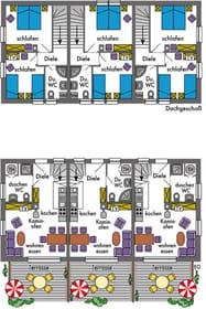 Grundrisse der Reihenhäuser, Bauausführung: erhöhter Schallschutz. 5-Sternequalität nach DTV
