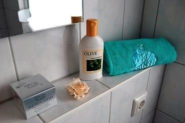 Bad mit Fenster, Dusche und WC